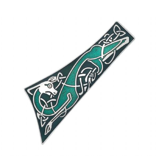 Celtic Dog Tie Shape Brooch Silver Plated Brand New Gift Packaging